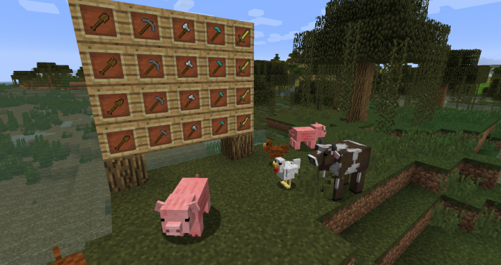 Farm animals have unique models, and tools visibly lose durability!