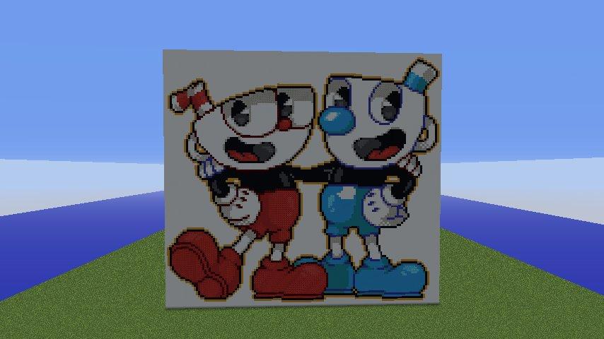 Cuphead Pixel Art Minecraft Project