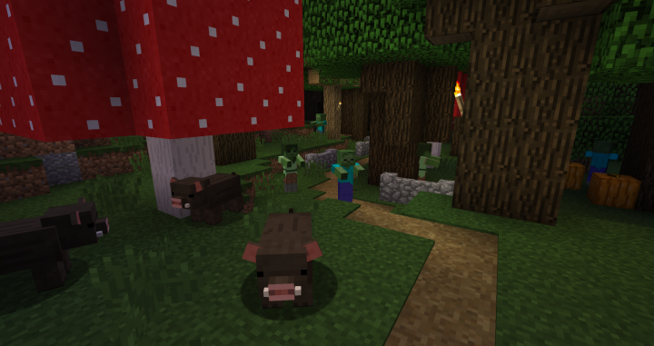 Pigs in showy biomes and roofed forests will spawn looking like boars!