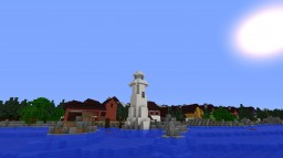 Small coastal town with slightly more realistic mountain Minecraft