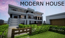 MODERN HOUSE - With Yard, Pool, and Garage! Minecraft
