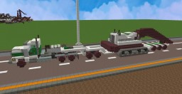 Mack truck ( 2+3 ) Lowboy Trailer, Link-belt excavator, front & rear vehicle escorts Minecraft