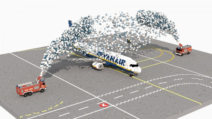 Popular Project : Water salute on Ryanair 737 at Rijeka [3:1 scale]