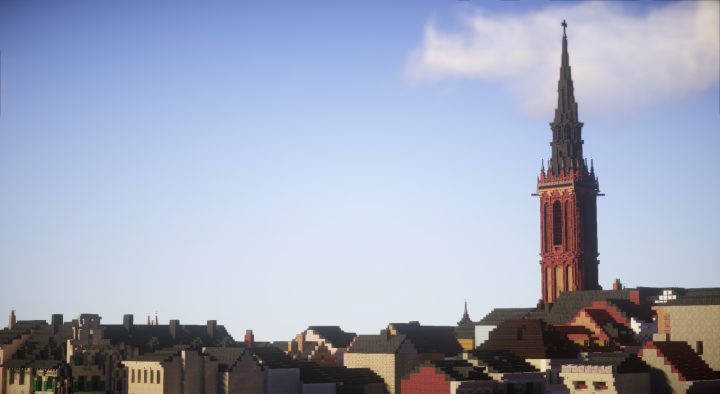 Roofs of Dueren with the Tower of the saint Annes church