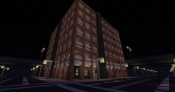 modern multi-story brick office building with helicopter pad Minecraft