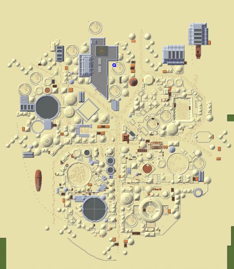 Top-down status of Mos Eisley. 1 pixel  1 block.