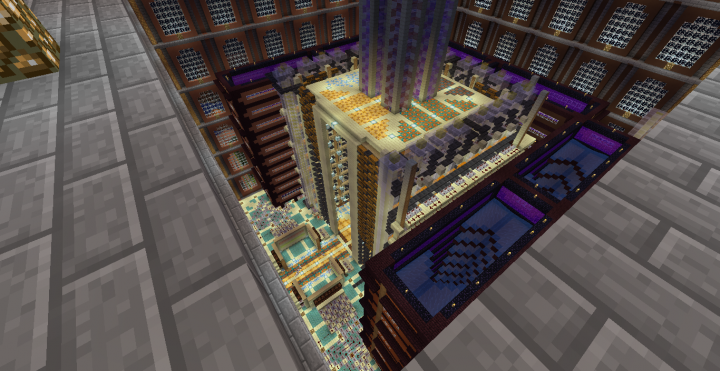 The mostly-completed sorter, control room and gold farm