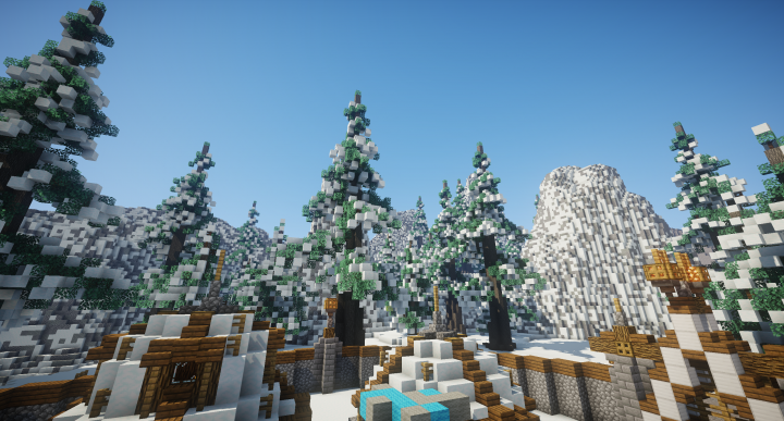 A snowy zone in the centre of the map