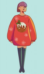 Drawing of myself in a christmas sweater Minecraft