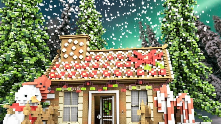 Minecraft Christmas Map.The Gingerbread House Christmas Map Minecraft Project