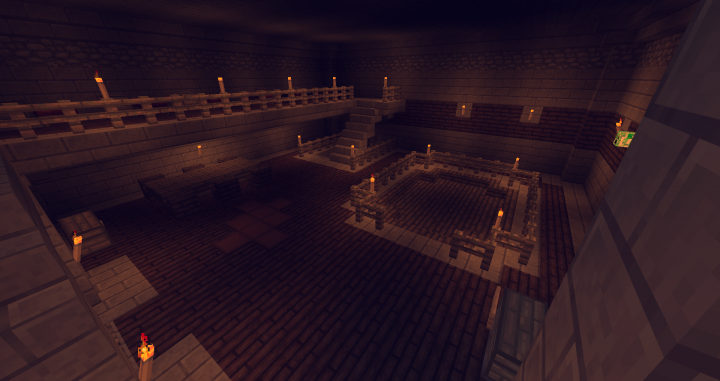Inside the Guardhouse, a training area, some beds and downstairs...