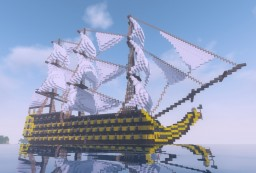 18th Century British 124 gun Ship of the Line Minecraft Map & Project