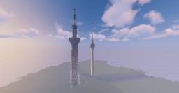 Berlin Fernsehturm and Tokyo Tower Minecraft Map & Project