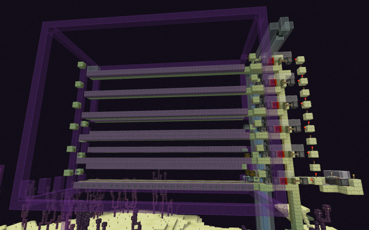 Shulkers spawn on the purpur blocks and are picked up by minecarts