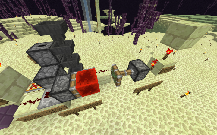 The redstone for each level. The torch tower would be hooked up to an etho hopper clock with half a stack of blocks in it.