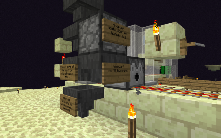 Back view of the spawning area and minecart dispenser