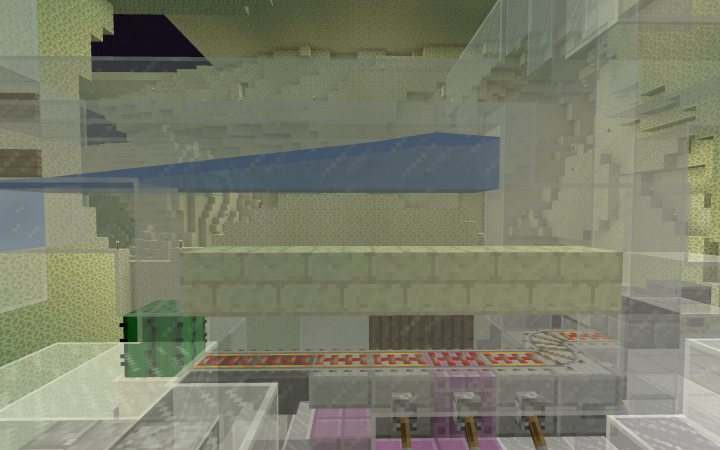 Killing chamber and drops collection. Shulkers suffocate in the end stone bricks after an activator rail ejects them from the minecart.