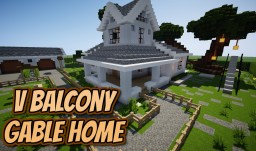 V BALCONY GABLE HOME +Yard Minecraft Map & Project