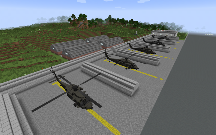 Helicopter stalls and barracks