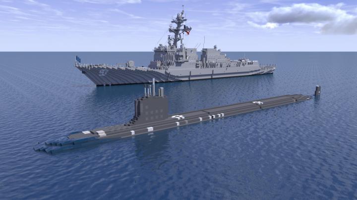 USS Halsey and USS Washington under way