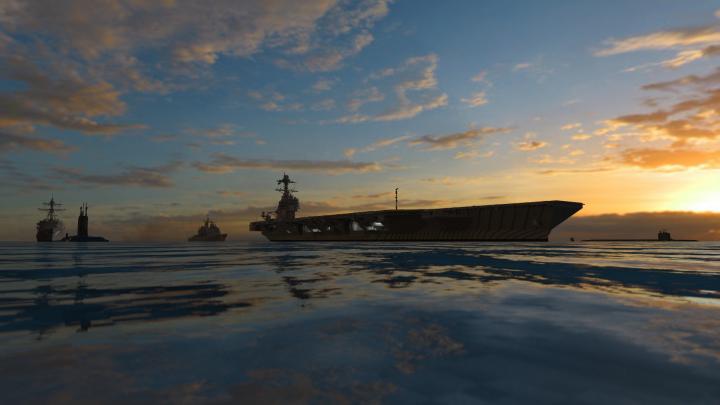 Sunset on carrier strike group 10