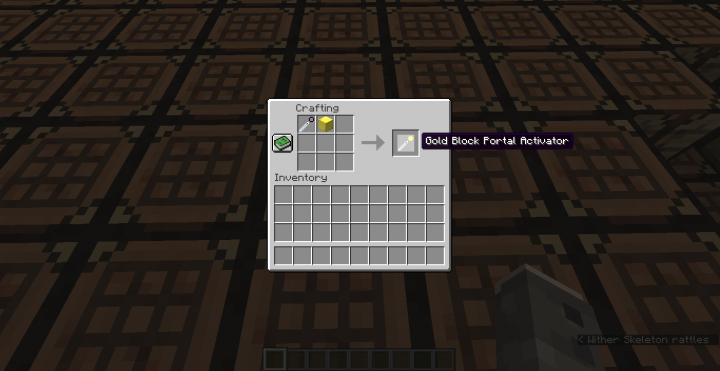 Recipe Portal Activator use any block here, not just gold!
