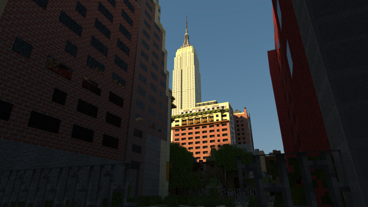 Empire State Building through an alley