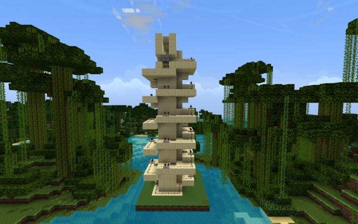 Endless Elevator With Staircase For High Rise Buildings Minecraft Map