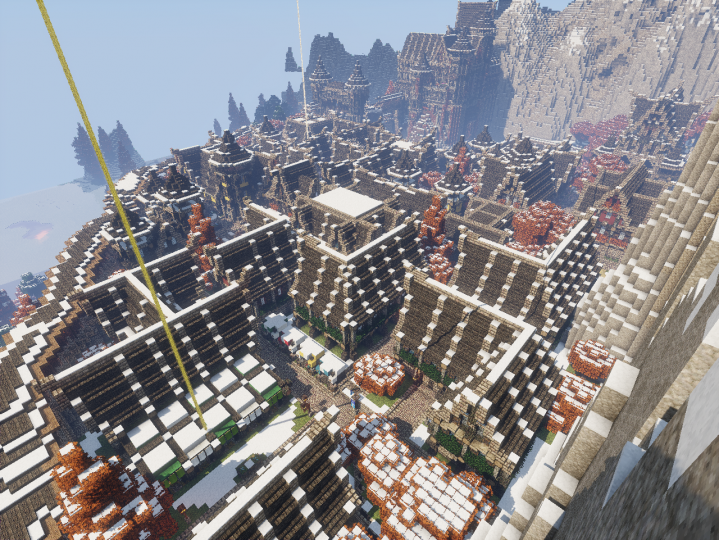 Aerial town view.