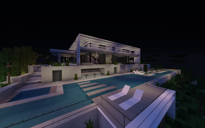 Realistic Seaside Modern House (v2) Minecraft Project