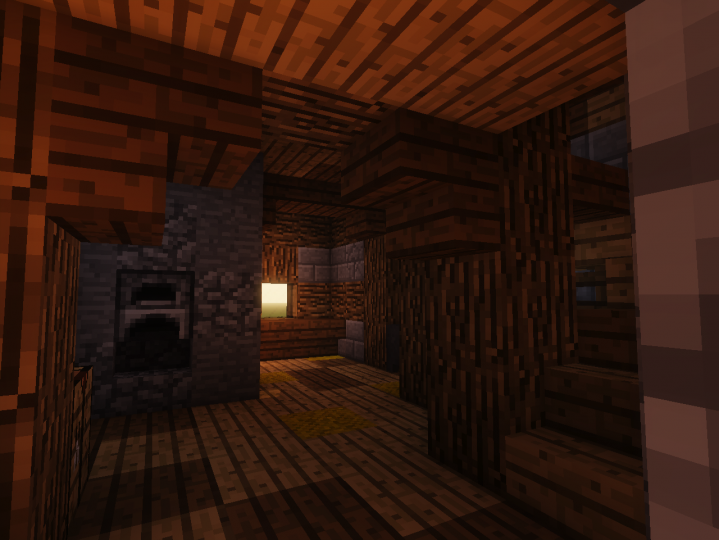 The first floor. Comes with a not-so-historically-accurate stove and glass window.