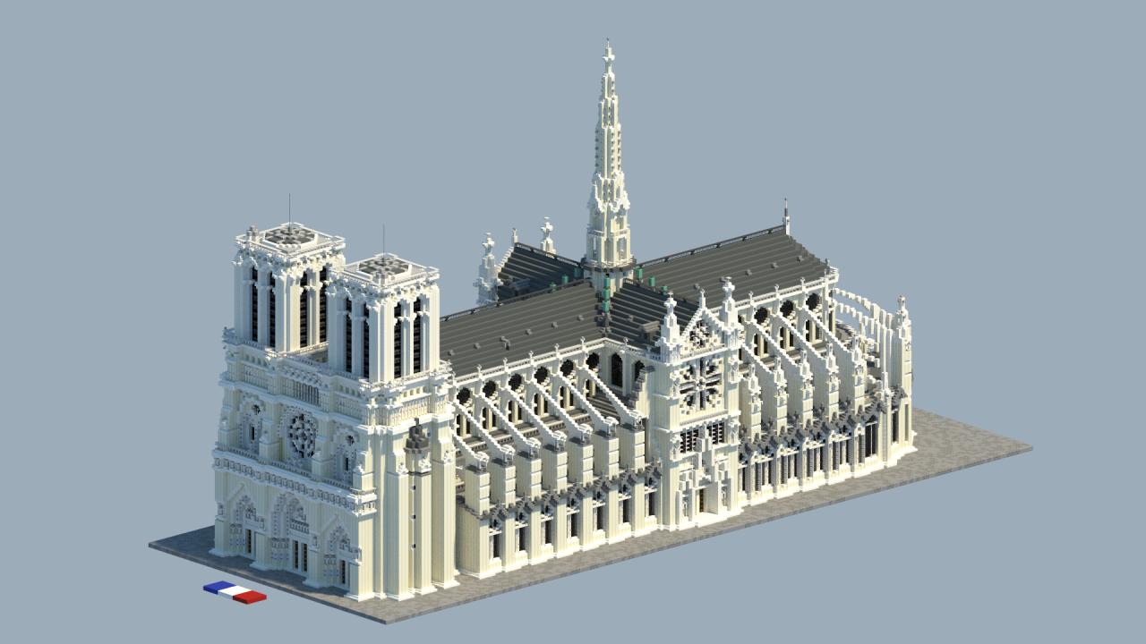 Catedral de Notre-Dame, em Paris.  Imagem: planetminecraft.com