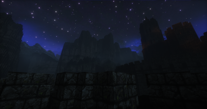 Looking up towards the cliffs at night.