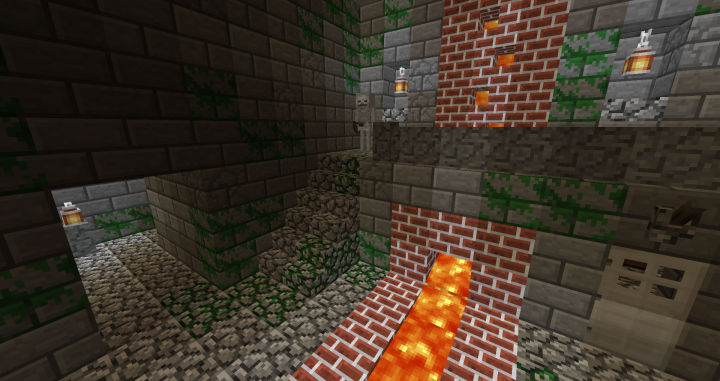 Old bricks, cobblestone, lava, and thick-lined stone bricks.