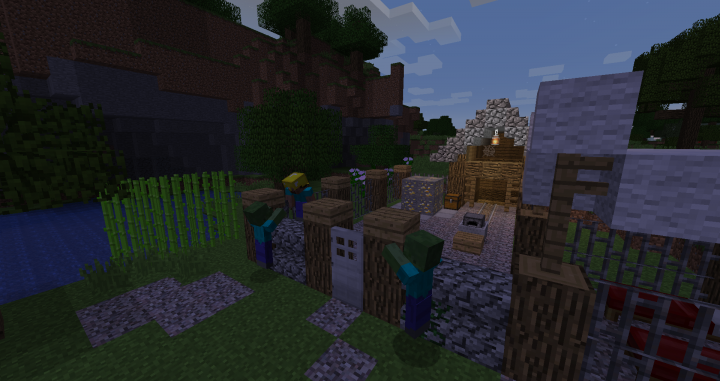 A pair of zombies attacking a mining encampment.