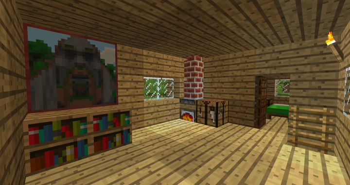 Temple of Notch painting, a smoker, and a green bed with the old wool color.