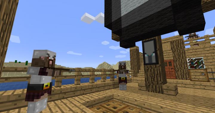 Pillagers, custom acacia door, and barrels.