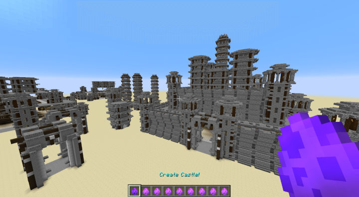 Castles and single castle parts spread over a superflat desert world.