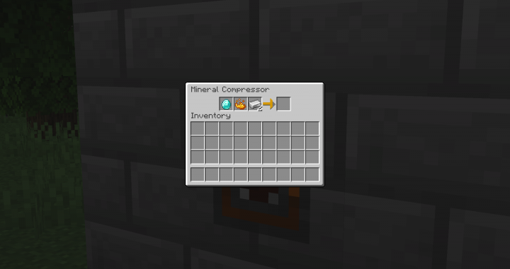 A Mineral Compressor combining a diamond and 2 iron ingots.