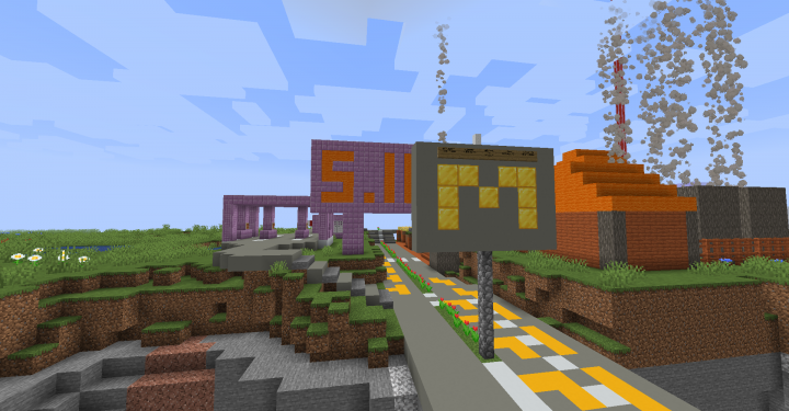 The entrance to Mineburg with Gas Station and Cactus Factory in background