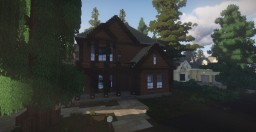 Big Wooden Brown Suburban House Minecraft Map & Project