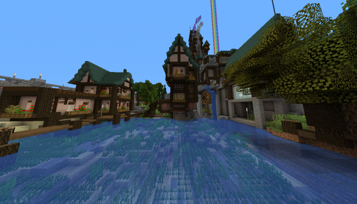 """Watermill. I tried to look at references as much but with this scale and with minecraft water  """"physics"""" and no barrier blocks in survival I was not able to make it as I would like to."""