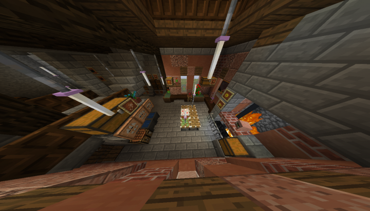 Kitchen. One of the comprimises between looks and function. In the back there are chests that in 1.14 would be barrels.
