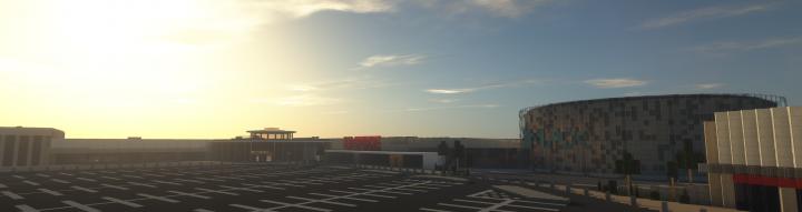 An ultrawide screenshot of the complex at sunrise