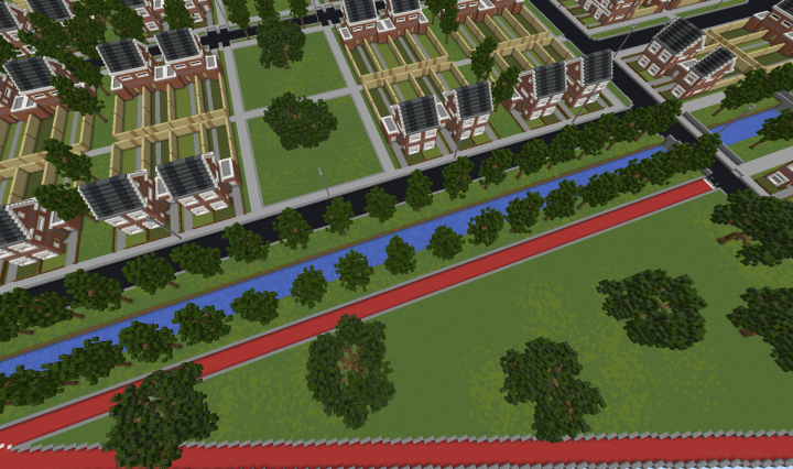Bird-view of the bike path along with some houses