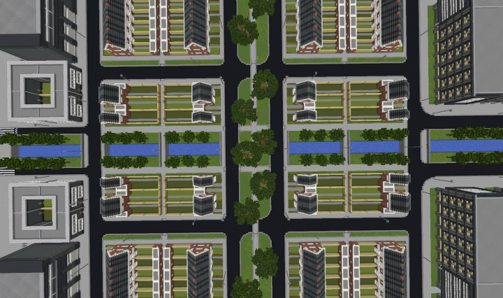 Top-view of the canal, walking park and houses
