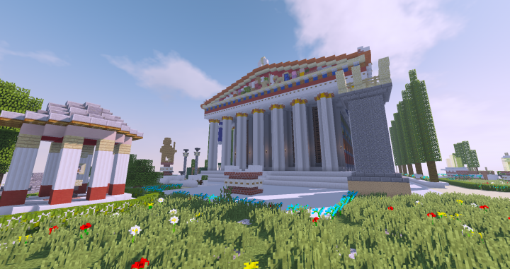 temple of agustus and rome , the tethrippion and back of the parthenn