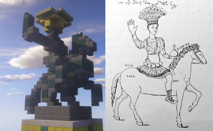 My Equestrian Statue of Justinian compared with a contemporary drawing from 1430