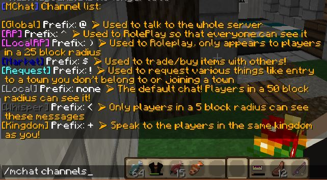 A screenshot of our different chats, plus the command to see them!