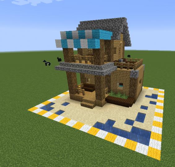 Simple 1 Chunk Beach House Minecraft Map